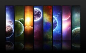 Космос: коллаж,  космос,  планеты,  радуга,  луны,  звёзды,  звезды,  отражение