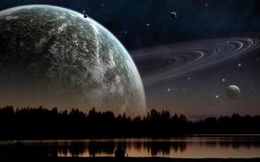 Космос: планета,  закат,  озеро