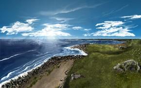 Стиль: рисунок красками, море, пейзад, ландшафт, облака, трава, камни, пена, берег, лучи