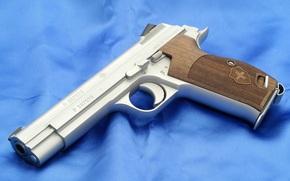 Оружие: швейцарский, пистолет, синий, фон
