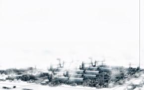 Рендеринг: город, техно, индастриал, завод, снежный, белый
