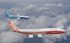 boeing,  747-8,  787,  Intercontinental,  полёт,  облака обои, фото