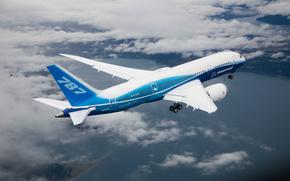 boeing,  787,  dreamline,  полёт,  облака обои, фото