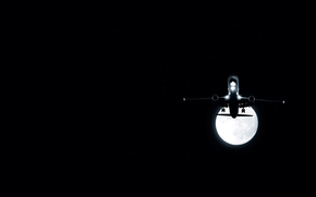 Авиация: самолет, луна, ночь