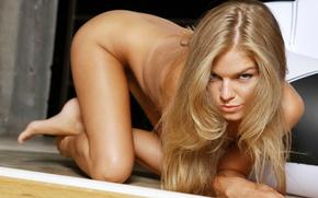Девушки: девушка, inga c, голая, блондинка, тело, взгляд, мяч, girl, naked, blonde, body, look, ball, 1920x1200, девушки, красивая