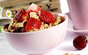 Разное: клубника,  орехи,  черешня,  тарелка,  еда,  десерт,  сладкое,  макро,  strawberry,  nuts,  cherry,  plate,  food,  dessert,  sweets,  macro,  1920x1200