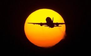 Авиация: солнце, самолет, полет