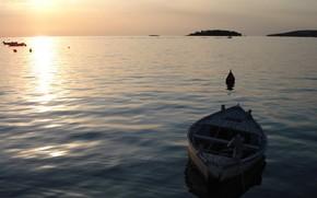 Пейзажи: море, лодка, волны, вода, мир