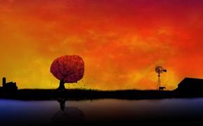 Рендеринг: обоя, фон, село, закат, оранжевый