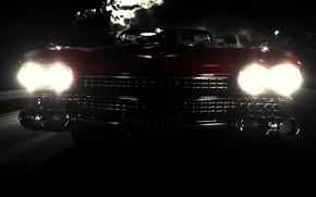 Машины: ночь, фары, свет, тьма