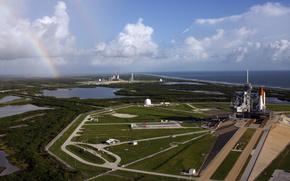 Космос: космодром,  пейзаж,  радуга
