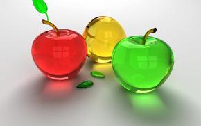 Рендеринг: яблоки, зеленый, красный, стекло