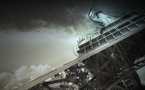Город: эйфелева башня, париж, франция, небо