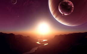 Космос: космос,  планета,  спутник,  солнце,  звезды,  река,  каньон,  скалы,  закат,  рассвет