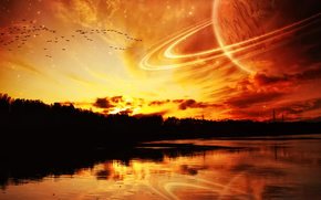 Космос: река,  море,  планета,  космос,  обои для рабочего стола
