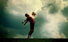 Спорт: футбол, мяч, фантастика, огонь