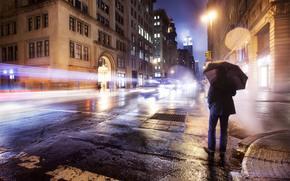 Зонт дождь огни нью йорк улица обои
