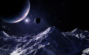 Космос: планеты,  звезды,  небо,  горы,  свет