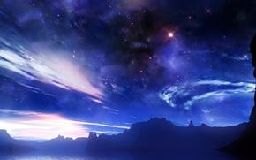 Космос: космос,  небо,  звезды,  огни,  облака,  сияние,  туман