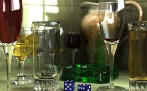 Рендеринг: стиль, вина, бокал