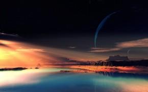 Космос: чужая планета, фантастический пейзаж, скалы, небо