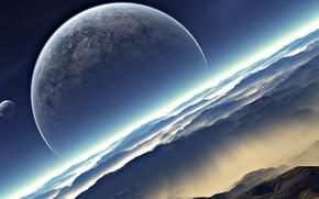Космос: луна, земля, небо