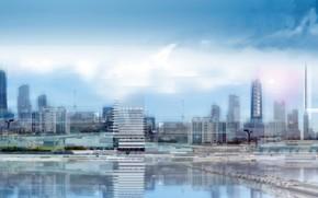 Город: вид, озеро, обоя, здание, стройка