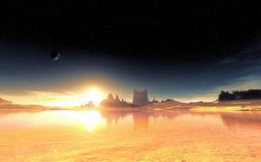 Космос: чужая планета, фантастический пейзаж, небо, звезды
