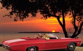 Машины: шевроле, импала, красный, закат, люди, дерево, Chevrolet
