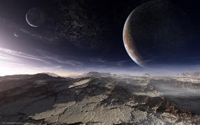 Космос: чужая планета, поверхность, горы, небо, планеты