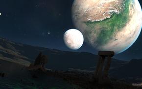 Космос: планеты, спутники, небо, звезды, руины