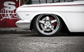Машины: шевроле, импала, классика, передок, тюнинг, белый, диски, хром, Chevrolet
