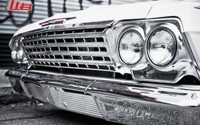 Машины: шевроле, импала, классика, передок, тюнинг, белый, диски, хром, фары, макро, логотип, Chevrolet