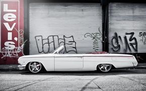 Машины: шевроле, импала, белая, кабриолет, улица, граффити, Chevrolet