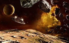 Космос: астероиды, камни, планета, корабль