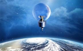 Космос: планета, спутник, небо, летательный аппарат