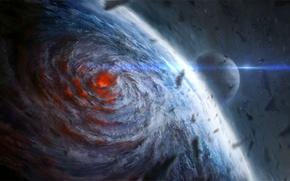 Космос: арт, ChrisCold, космос, планета, спутник, камни, ураган, воронка