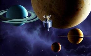 Космос: планеты, колца, корабль, небо