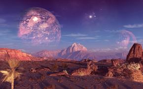 Космос: планета, горы, скалы, небо