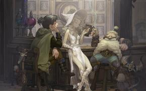 Аниме: бар, кабак, гном, ведьма, пиво, курит, бочка, шлем