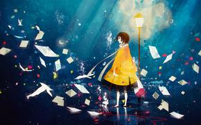 Аниме: девушка, короткие волосы, звёзды, шарф, луна, плащ, бумага, красная нить
