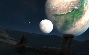 Космос: планеты, звезды, ландшафт, руины, колонны, арки, озеро, скалы, камни