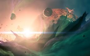 Космос: космос, планеты, звезда, свет, трещины, лава, огонь, метеориты, камни, скалы, пики, острые