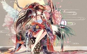 Аниме: девушка, цветы, пионы, крылья, луна, фонарь, абстракция, кимоно, красная нить, сакура