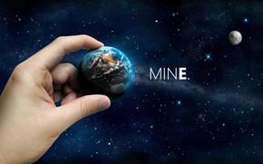 Космос: космос, планета, рука, звезды, небо, луна