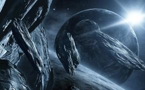 Космос: космос, метеориты, камни, глыбы, планеты, звезды, звезда, солнце, свет