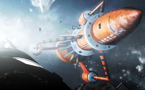 Космос: арт, космос, ракета, корабль, люди, астронавты, спутник, метеориты, камни