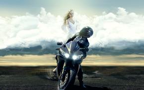 Мотоциклы: ангел, мотоцикл, yamaha, девушка