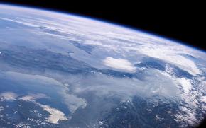 Космос: Земля, космос, небо, горизонт