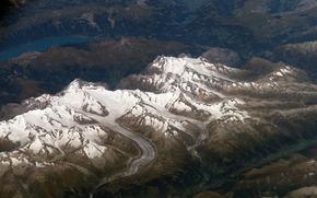 Космос: космос, снимок, горы, ледник, озеро